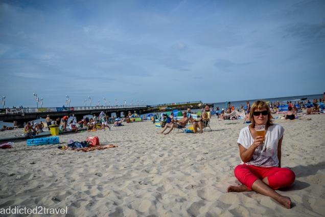 15kilometrowy spacer zakończony piwkiem na plaży w Kołobrzegu