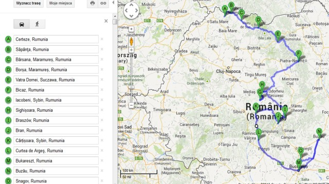 Rumunia trasa